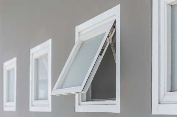 7. Awning windows open from the bottom to the outward